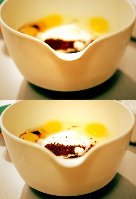 Add sugar, eggs, and instant espresso to a bowl